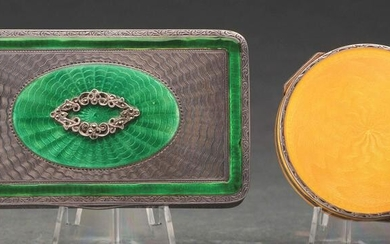 LOT OF TWO ENAMELED COMPACTS.
