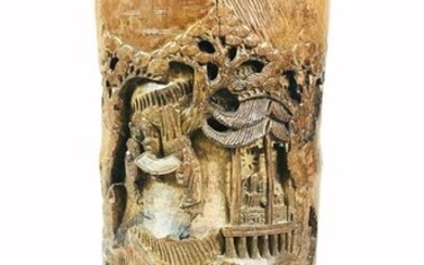 Large Carved Chinese Bamboo Brush Pot.