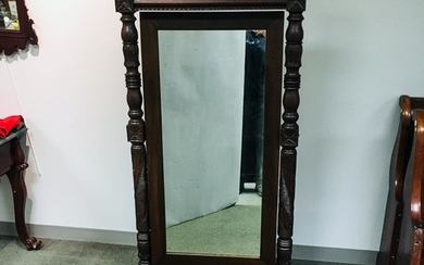 Late Federal Carved Mahogany Cheval Mirror, ht. 67, wd. 31 in.