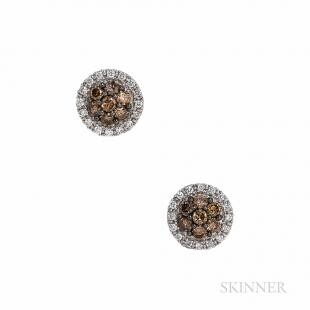 LeVian 14kt White Gold, Colored Diamond, and Diamond Earstuds