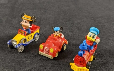 Lot Of Three Disney Toy Cars With Donald And Mickey