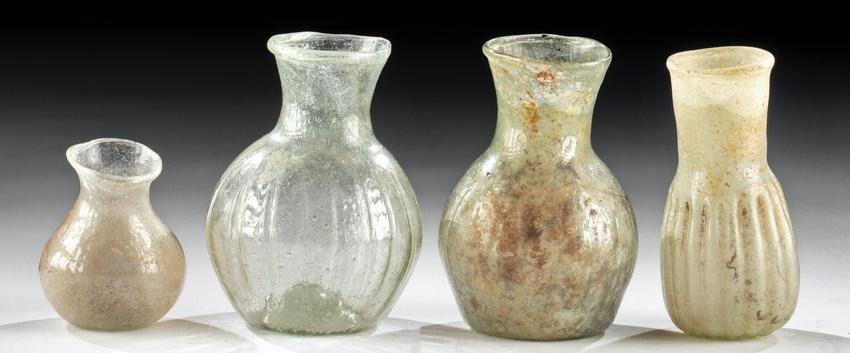 Lot of 4 Roman Glass Bottles - A Lovely Ensemble