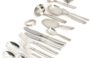 """Lotus"". Silver cutlery. Manufactured by Horsens Sølvvarefabrik and W. &. S. Sørensen. Weight excl. parts with steel app. 3157 gr. (110)"