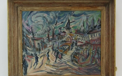 Ludwig Meidner, Cityscape, Oil on Canvas