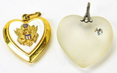 Mother of Pearl Military Locket & Heart Pendant