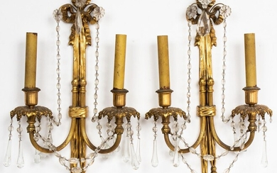 Neoclassical Style Gilt Metal Tassel Sconces, Pr