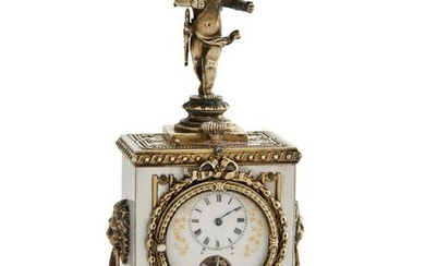 Neoclassical style silver & abalone timepiece