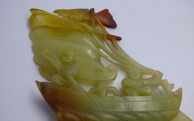 Oriental carved jade model of a boat with 2 fishermen 13x11....