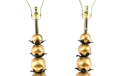 PAIR GILT & WROUGHT IRON STACKED BALL TABLE LAMPS