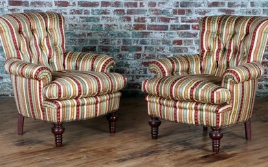 PAIR UPHOLSTERED LIBRARY CHAIRS ROLLED BACKS ARMS