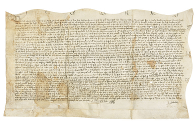 POLE, William de la, 1st Duke of Suffolk (1396-1450). Document signed ('Suffolk'), an indenture recording the resolution of a dispute relating to the manor of Sproughton, n.p., 19 May 1436.,