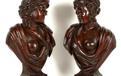 Pair 19th C Italian Carved Semi Nude Female Busts