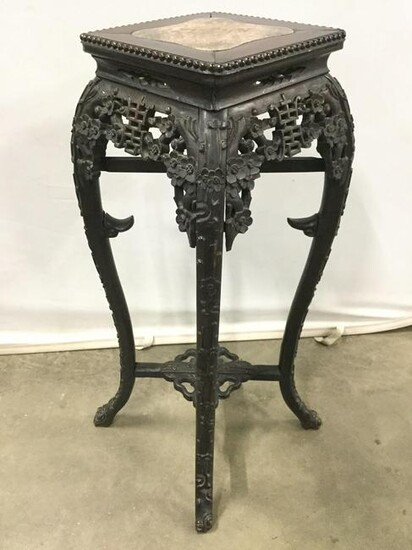 Pair Carved Antique Chinese Rosewood Stands C1870Â's