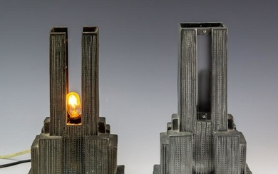 Pair Empire State Building Lamps Missing Elements