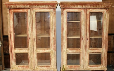 Pair French faux painted bookcases