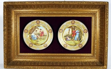 Pair Of Framed Cabinet Plates
