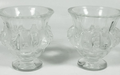 Pair Of Lalique Budgie Vases (As Is)