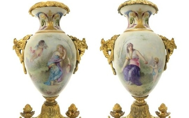 Pair of 19th C. Sevres Porcelain & Bronze Urns Signed