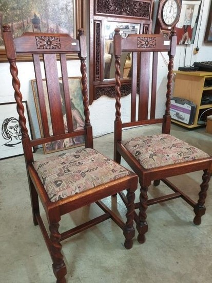 Pair of Oak Dining Chairs, Circa 1930's with Fabric Seat and...