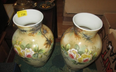 Pair of Victorian hand decorated milk glass vases