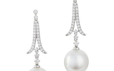 Pair of White Gold, Diamond and South Sea Cultured Pearl Pendant- Earrings