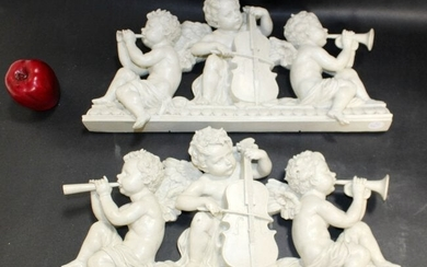 Pair of cast resin musical cherub crests