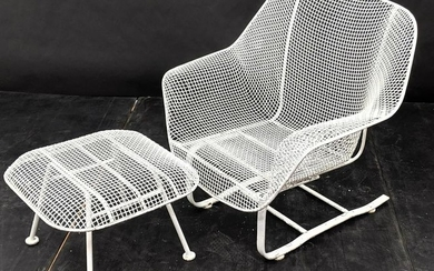 RUSSELL WOODARD Spring Lounge Chairs and Ottoman. Mesh
