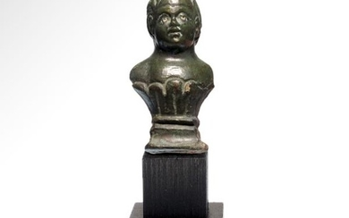 Roman Bronze Bust of a Child, Silver Inlaid Eyes, c.