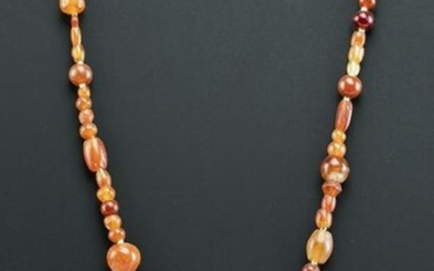 Roman Carnelian Bead Necklace w/ Gold Spacer Beads