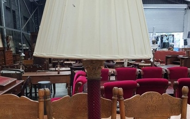 Ruby Glass & Brass Column Table Lamp, with Corinthian capital and moulded strawberry pattern column & on stepped base