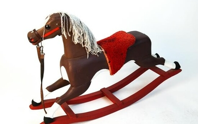Rustic Painted Wooden Rocking Horse