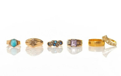 SIX GOLD VINTAGE RINGS, 21g