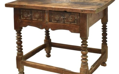 SPANISH COLONIAL CARVED WALNUT HALL TABLE, 17TH C.