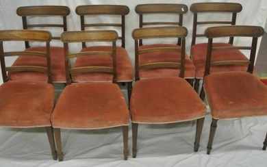Set of 8 Regency style mahogany dining chairs with reeded bo...