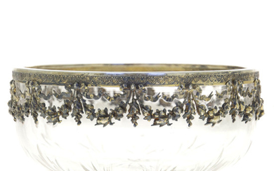 Silver Mounted Cut Crystal Bowl, Ohlenschlager Riemann, Germany, Circa 1900.