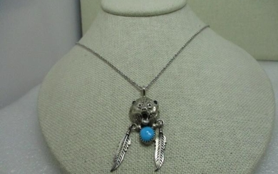 Sterling Silver Navajo Bear Head Necklace, with