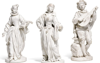 THREE SEVRES WHITE BISCUIT PORCELAIN FIGURES, CIRCA 1772