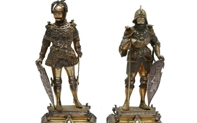 TWO GERMAN MINIATURE GILT-SILVER KNIGHT IN ARMOR