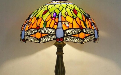 Table lamp Glass Tiffany Style Green Dragonfly bulb