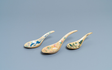Three Chinese famille rose café-au-lait-ground spoons, Daoguang mark and of the period