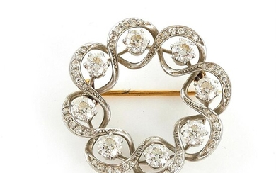 Tiffany & Co platinum and diamond circle brooch
