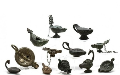 Twelve Roman-Style Brass Toned Oil Lamps