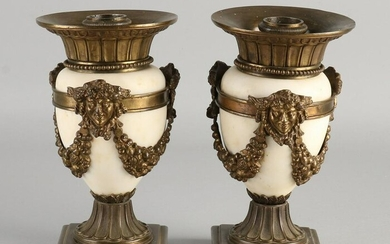 Two antique white marble jars with bronze.&#160 Circa
