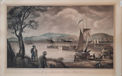 """Unknown American artist, early 20th century.: """"View of an American River - c. 1850."""" Unsigned. Watercolour on paper. 37×62.5 cm. Unframed."""
