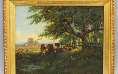 Upscale Illegibly Signed Antique O/C of Cows