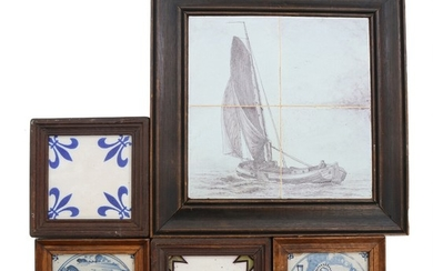 Various Dutch faience tiles and one tile picture. Partly framed. 19th-20th century. (49)