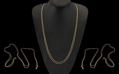 Victorian Period - Excellent Quality 9ct Gold Guard Chain. M...