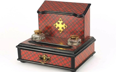 Victorian Tartanware desk stand, fitted with a letter