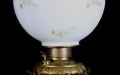 Victorian brass and alabaster lamp