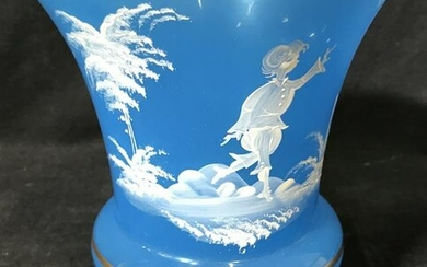 Vintage Blue Hand Painted West German Glass Vase